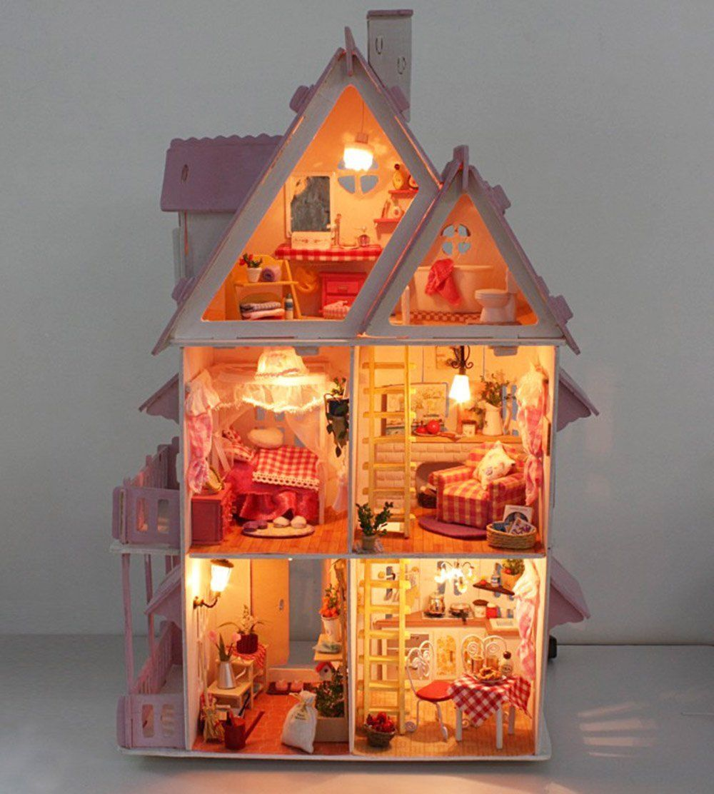 Diy Miniature Doll House Flat Packed Cardboard Kit Mini: DeAO Three Leven Wooden Doll House