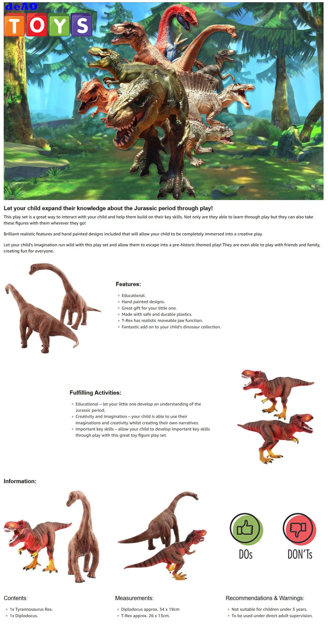 DeAO Dinosaure Jouets réaliste à la recherche préhistorique figures du Jurassique...